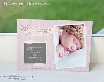 Baby Girl Birth Announcement VINTAGE BIRDIE Photo Card - DIY Print at home Digital File