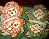 12 Pretty Vintage Teacup and Tea pot Decorated Sugar Cookies