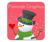 Premade Etsy Shop Banner and Avatar - Snowman Love