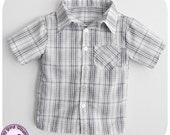 Short sleeved summer shirt for Boys - 12m to 6t - Pdf Pattern and Instructions - front pocket button up shirt