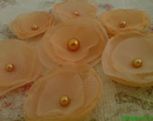 Handmade Organza Flowers with Glass Pearl centres  (7 pcs) - Peach, Apricot