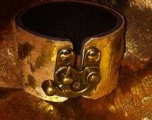 Leather Cuff Bracelet in Gold Splashed Cowhide