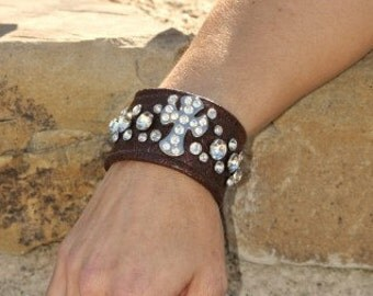 Blinged Out Cross on Brown Leather Cuff Bracelet
