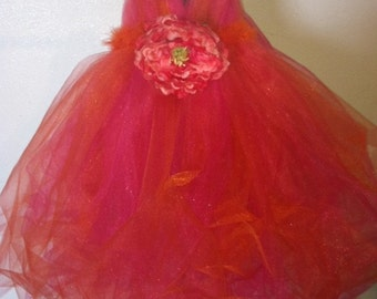 Bright Orange and Hot Pink V-neck Tutu Dress From CooperStreet