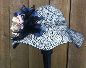 Big Brim Derby Hat in Tan and Black With Optional Feather Spray