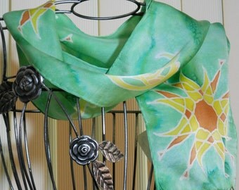 Hand painted Silk scarf Sun and Moon in light green, orange, and yellow