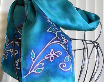 Hand Painted Silk Scarf Delicate Floral in Jade Green, Turquoise Blue,  Indigo Blue, White and Purple