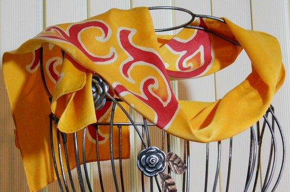 Silk Scarf gold, red, white on silk Hand Painted Free shipping