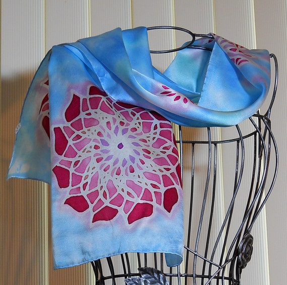 Hand painted Silk scarf Abstract dalia floral in blue, pink, red and golden brown