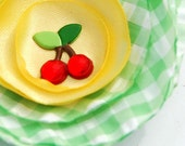 DAISY - Green Gingham, Yellow Silky Fabric Flower Clip with Cherries