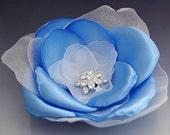 Soft Blue Silk Flower Clip, Brooch Pin with Rhinestone, Beautiful for Wedding