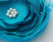 Black Friday etsy - Teal Blue Silk Fabric Flower Clip, Brooch/Pin with White Glass Pearls