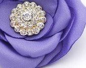 Lavender Rose Clip, Purple Fabric Flower with Rhinestone Center