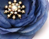 Blue Flower Clip Cornflower with Vintage Rhinestones, Center