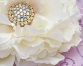 White Flower Clip, Brooch Pin Peony with Vintage Glass Rhinestones, Wedding