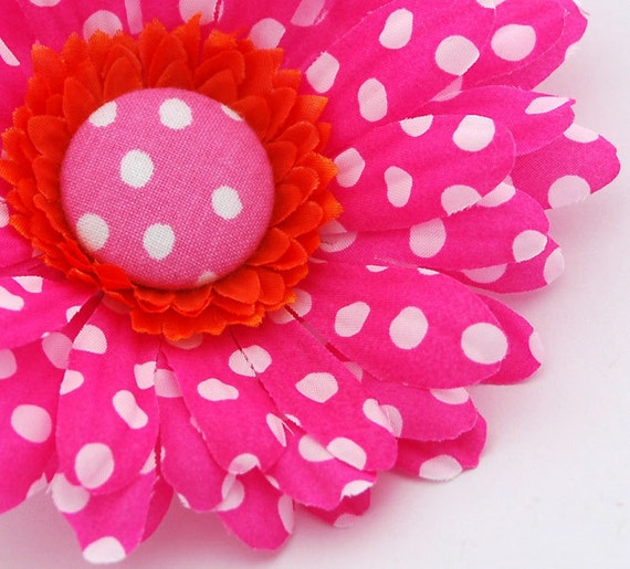 Pink Polka Dot Flower Clip, with Orange and White