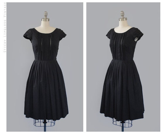 1950's VINTAGE black dress. lacy. cocktail. 50s dress. pleated full circle skirt. mid century. cap sleeves.