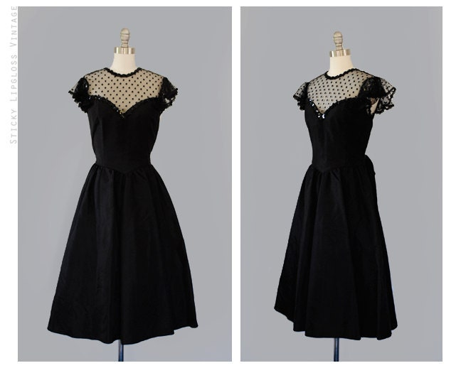 1980's VINTAGE black dress. party gown. 80's prom