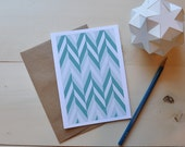 Chevron in Teal and Seafoam- All Occasion Card