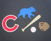 Chicago Cubs Themed Baseball Scrapbook Cutouts - 25 Piece Set