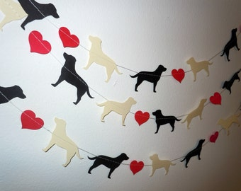 Labrador Love Paper Garland - Valentine's Day Decor - Choose Your Colors