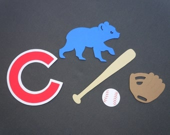 Chicago Cubs Themed Baseball Scrapbook Cutouts - 25 Piece Set