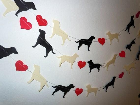 Labrador Love Paper Garland - Valentine's Day Decor - Choose Your Colors