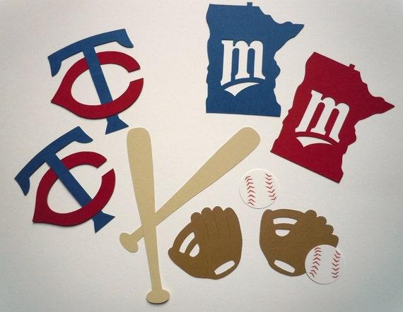 Minnesota Twins Themed Baseball Scrapbook Cutouts - 26 Piece Set