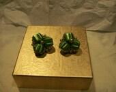 Japan Green Bead and Pearl Earrings