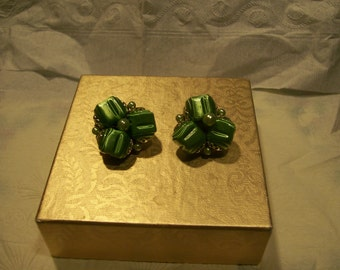 Japan Green Bead and Pearl Earrings
