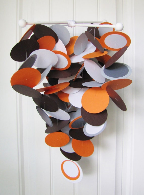 Crib Baby Mobile in Modern Orange, Gray and Brown - Baby Mobile - Crib Baby Mobile