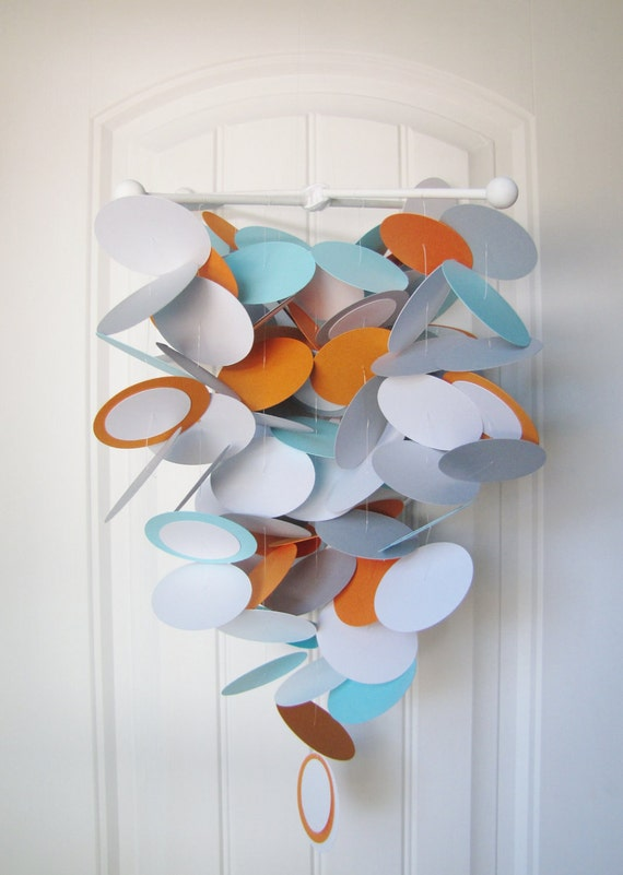 Baby Mobile in Aqua, Orange, Gray and White - Baby Mobile - Modern Crib Mobile