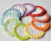 10 Pcs - Spring Inspired Hand Made Daisy Facial Scrubbies  - Eco Friendly, Reusable, Cotton, Travel Easy, Makeup Remover/Spa Accessory
