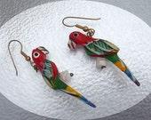 Wood Tropical Parrot Pierced Earrings