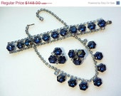 Vintage Blue Rhinestone Necklace Earrings Bracelet Parure Set