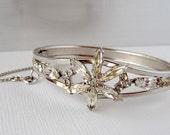 Star Flower Rhinestone Bracelet - Silvertone Vintage