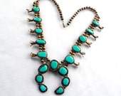 Turquoise Squash Blossom Silver Necklace Old Pawn Native American Beads