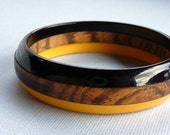 Vintage Bakelite & Wood Laminated Bangle Bracelet - Awesome Retro