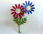 Red White & Blue Daisy Brooch - Patriotic July Flowers Vintage