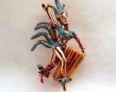 Native Dancer Drummer Brooch - Copper w Bakelite Drum