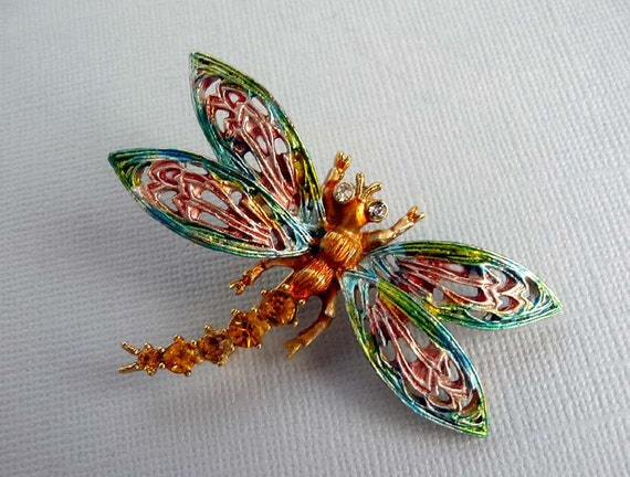 Vintage Dragonfly Brooch - Rhinestone Signed ART in Pastel Enamel