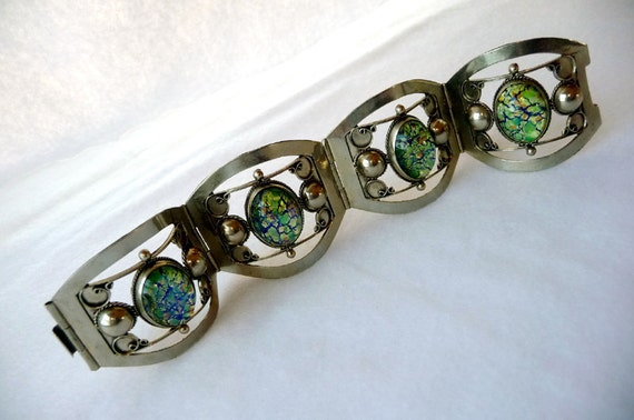 Art Glass Silver Bracelet - Mexican 925 Sterling Signed Vintage Wide