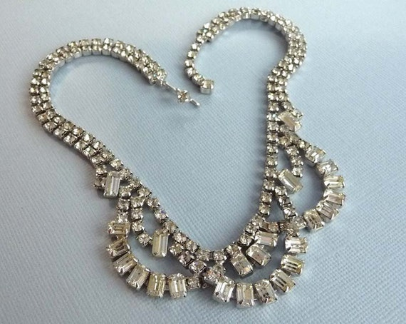Kramer Vintage Rhinestone Necklace - Clear Rhinestone Kramer of New York