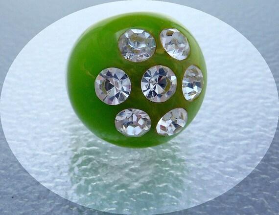 Vintage Lucite Retro  Ring Lime Green w Rhinestones