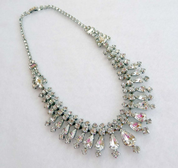 La Rel Crystal Clear Vintage Rhinestone Wedding Necklace