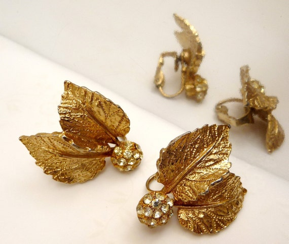 Gold Leaf Earrings with rhinestone ball - clip ons