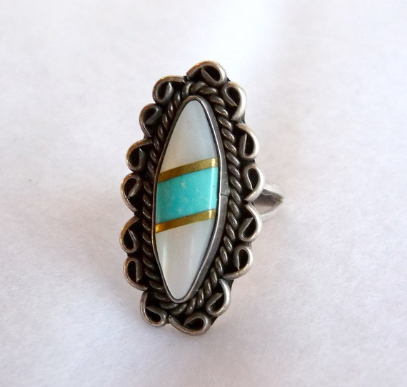 Sterling Turquoise Mother of Pearl American Indian Ring - Southwestern
