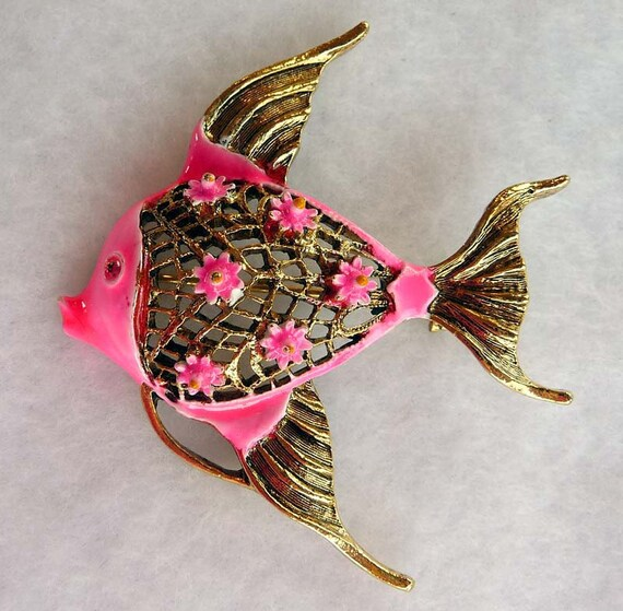 Hot Neon Pink Angel Fish Brooch Signed ART - RETRO