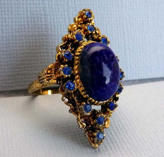 Vintage Czech style Blue Adjustable Ring