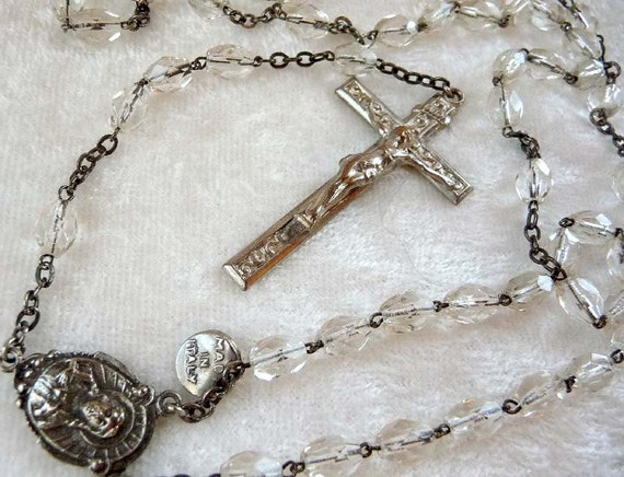 Crystal Bead Rosary & St Christopher / Cross